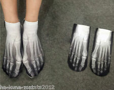 Halloween SKELETON Trainer SOCKS; UK 3-7 1pair GOTHS 3D Digital Photo FOOT X-RAY