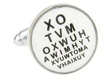 Eye Chart Optometrists Cufflinks Wedding Fancy Gift Box & Polishing Cloth