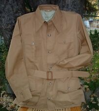 VTG HUNTING WORLD NYC Safari Bush Jacket BROWN 44 - Pleated Back Style - NOS MIB