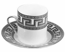 Set of 6 Porcelain China Cups + Saucers for Espreso or Turkish Coffee Silver Key