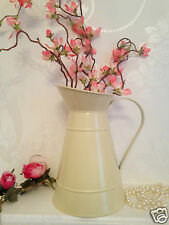 Cream Metal Zinc Jug Vintage Shabby Chic Pitcher Rustic Wedding Flower Vase 22cm