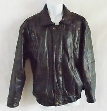 Navarre Leather CO. Black Leather Men's Coat Jacket Italian Stone Design Medium