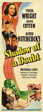SHADOW OF A DOUBT Movie POSTER 14x36 Insert Teresa Wright Joseph Cotten Hume