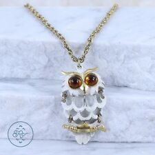 Gold Plated - Amber Rhinestone Articulated ENAMEL Wise Owl - Necklace (18)