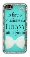 "Cover iPhone 4 / 4s / 5 / 5s argentata con strass ""Colazione da Tiffany"""