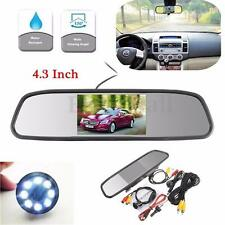 4.3''LCD Car RearView Mirror Monitor+8LED Night Vision CCD Reverse Backup Camera