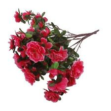 2 x Artificial Azalea Silk Flowers Floral Home Wedding Party Decor Rose red