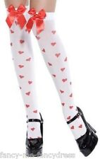 Ladies Sexy White/Red Queen of Hearts Print Bow Fancy Dress Stockings Hold Ups