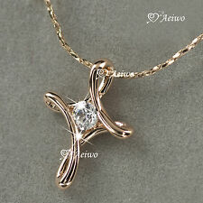 18K GOLD GF GENUINE SWAROVSKI CRYSTAL CROSS PENDANT NECKLACE