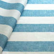 3 Meter Leinenstoff Rissa (gestreift Weiss Blau B 50 cm)
