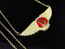 Lab Diamond Enamel Bentley All In One Pendant & Chain In Yellow Gold Finish 22""