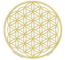 Mandala Arts Single Sided Window Sticker: Flower of Life Gold