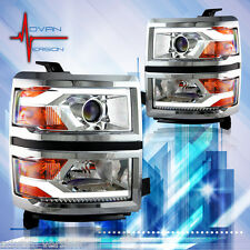 WINJET 2014-2015 Chevy Silverado Projector Headlights DRL LED Glow Bar CHROME