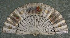 Ab-161. Fan. Carved Rods. Handpainted Paper And Gilded. 19Th Century