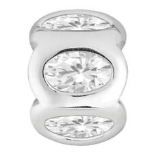 Lovelinks Bead Sterling Silver, Silver 6 Oval Clear CZ Charm Jewelry TT126CZ