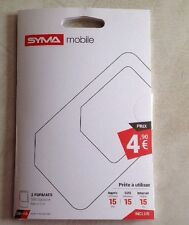 SYMA MOBILE FRANCE MICRO SIM CARTE PREPAYEE PUCE Réseau Orange GSM FR CARD