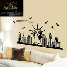 New York City Silhouette Statue of Liberty Fluorescent Wall Sticker Decals Decor
