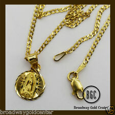 Round Mama Mary Pendant w/ Cuban Link Chain 14k Solid Yellow Gold ON SALE!