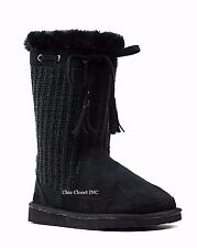 Women Tall Mid Calf Snow Winter Sweater Knit Faux Fur Shearling Warm Flat Boots