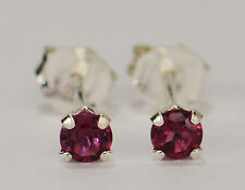 PETITE! GENUINE NATURAL MINED RHODOLITE GARNET EARRINGS~STERLING SILVER~3MM