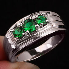 3-stone Green Emerald Men 925 Sterling Silver Ring Size 13 Gift for Boyfriend