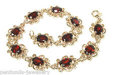 9ct Gold Garnet Bracelet Gift Boxed, Hallmarked Made in UK