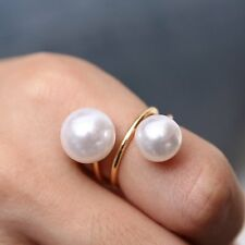 Vogue Double Big Small Pearl White Opening Adjustable Ring Woman Jewelry Gift