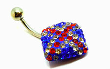 New Iced Union Jack England Surgical Steel Rhinestone Belly Navel Bars Piercing