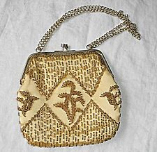VINTAGE HONG KONG GOLD BEAD EVENING BAG 2 CHAIN HANDLE WILL THROW OVER SHOULDER