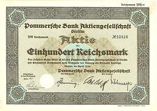 Origenpomeranio Bank AG 100 RM 1933 Szczecin