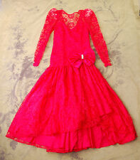 VTG 80's RED LACE BOW PARTY PAGEANT HOLIDAY CHRISTMAS FORMAL PARTY DRESS S 2 4