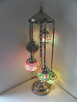 Turkish Floor Lamp, Hand Made 5 Glass and 'Silver' Moroccan Mosaic Glass Light