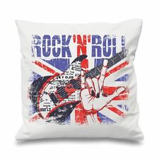 "Rock 'N' Roll Union Jack 18"" x 18"" Filled Sofa Throw Cushion"