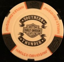 Harley Davidson Poker Chip WHTBLK Orange Southren Thunder Shouthaven Mississippi