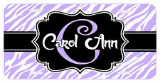 Personalized Monogrammed License Plate Auto Car Tag Zebra Initial Name Lavender