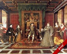 FAMILY OF KING HENRY 8 VIII TUDOR BRITISH HISTORY PAINTING ART REAL CANVAS PRINT