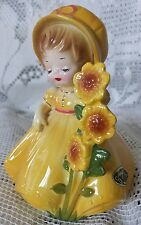 Vintage Josef Originals Figurine Young Lady w/Yellow Sunflowers & Dress. Sticker