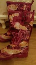 Floral roses pink purple wellington boots glamping festivals etc....