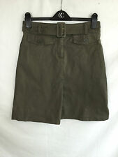 LADIES H&M KHAKI STRETCH COTTON A-LINE SKIRT WITH PLEAT SIZE 10 - 12 EUR 38