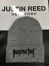 Justin Bieber Purpose tour x Merchandise gray beanie hat - One Size
