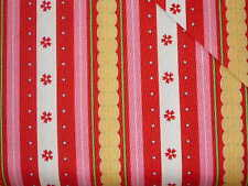 Riley Blake Fabrics delighted Quilted Fish cotton sttipe pink yellow red SALE