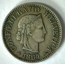 1884 Switzerland 10 Rappen Swiss Helvetia Copper Nickel 10 Cent Coin YG