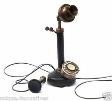 Old Retro Vintage Candlestick Phone Rotary Dial Home Office Decor Functional
