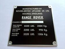 Plaque constructeur Range rover-Range Rover vin plate-Range rover typenschild