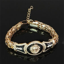 1x Pop  Alloy Vintage Rhinestone Bracelet Lion Head Bangle Gifts Gold Jewelry WB
