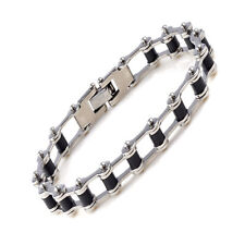 Men's Silver Black Stainless Steel Motorcycle Bike Chain Bangle Cuff Bracelet