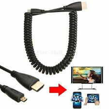 1.8M Coiled 1.4V Micro HDMI Type D Male to HDMI Male M/M Converter Adapter Cable