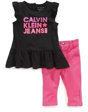 Calvin Klein Baby Girls 2-Piece Tunic & Jeggings Set Size 24 Months