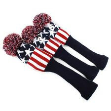 Pom Pom Black Red Star Golf Club Sock Driver Fairway Wood Cover Headcover 3pcs