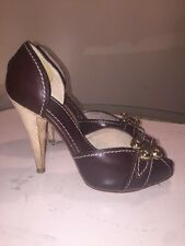 GUILLAUME HINFRAY Bottier Brown Leather Gold Buckle Peep Toe Heels Sz 37 1/2